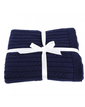 Petite Cable Rib Blanket - Navy