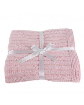 Petite Cable Rib Blanket - Pink, A Soft Idea