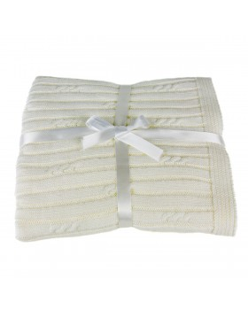 Petite Cable Rib Blanket - White, A Soft Idea
