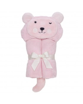 Pastel Pink Bear Bath Wrap / Hooded Towel - Elegant Baby