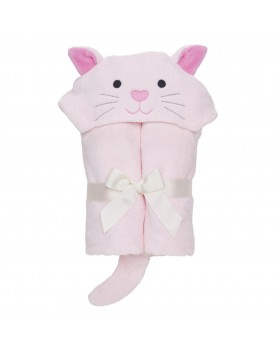 Pastel Pink Kitty Bath Wrap / Hooded Towel - Elegant Baby