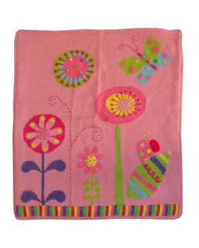 Pink In the Garden Hand Stitched Floral Stroller Blanket - Artwalk